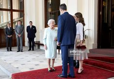 Queen Elizabeth II and Prince Philip, Duke of Edinburgh greet King Felipe VI of Spain and Queen Letizia of Spain during a State visit by the King and Queen of Spain on July 14, 2017 in London, England.  This is the first state visit by the current King Felipe and Queen Letizia, the last being in 1986 with King Juan Carlos and Queen Sofia.  (Photo by Chris Jackson/Getty Images)