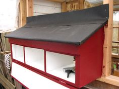 Roofing felt will help you create a waterproof barrier from the henhouse wall over the seam of the external boxes. Detailed Instructions on HOW TO MAKE BOXES.