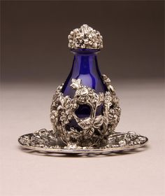 Silver Victorian Tear Bottle With Blue Glass And Matching Tray