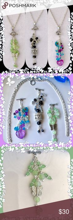"""🌺🌴🌺 3 IN 1 PENDANT 🌺🌴🌺 🌺🌴🌺 This handcrafted pendant has one chain and 3 interchangeable beaded pendants.  Just slip the toggle clasp in and you're ready to go.  Comes out easy to add another.  Gives you 3 different color designs to go with a multitude of clothing options.  Be the 1st to own one.  The chain is: 20"""" with a 2"""" extension.  Each set of beads is 3"""". 🌺🌴🌺 Jewelry Necklaces"""