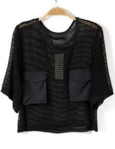 Black Short Sleeve Hollow Pockets Lace T-Shirt N.Kr.101.85