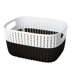 Hashtag Home Decorative Plastic Basket Colour: Black/White, Size: H x W x D Fabric Storage Bins, Fabric Bins, Tote Storage, Plastic Storage, Storage Baskets, Storage Boxes, Decorative Storage, Small Storage, Easy Storage