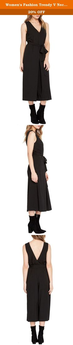 Women's Fashion Trendy V Neckline Wide Leg Sash Tie Romper Pants Jumpsuit BK M. Business meets street chic in this all black jumpsuit. It features a plunging v neckline and wide, culotte style pants. Complete with a wrap around tie-waist with hidden side zipper closure.