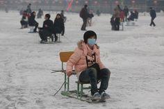 Ice chair skating, China