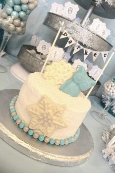 Winter wonderland ONE-derland 1st birthday party- baby boy - dessert table - sweets candy table ideas - chevron - owl - smash cake - mini bunting