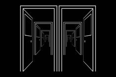 Black and White Schematic Image of Suite of Rooms. A Series of Open Doors