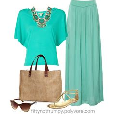 """""""Statement Necklace and a Maxi Skirt"""" by fiftynotfrumpy on Polyvore"""
