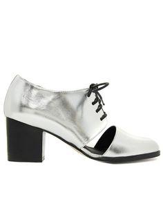 Casual Hangout: Shiny Cutout Oxfords With Heel ASOS SOUTHWARK Lace Up Heels, $71.19, asos.com