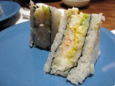 Sushi fashion sandwiches. Haven't seen these in the U.S., but I wish I could find them!