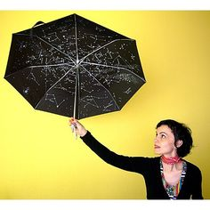Protect yourself from the rain with this umbrella full of constellations and stars. It's afolding umbrellathat looks normal but, when you open it… a complete planisphere unfolds before you