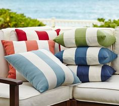 """PB Classic Stripe Indoor/Outdoor Pillow 20"""" square 