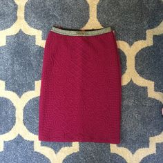 Anthropologie - Raspberry, cotton pencil mini. Flattering, soft, thick cotton pencil skirt with lots of stretch! Includes silver, detailed waistband. Perfect for any holiday party or festive occasion. Worn 4 times. Great condition. Anthropologie Skirts Pencil