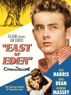 -East of Eden based on the novel by John Steinbeck, starring James Dean and Julie Harris, directed by Elia Kazan. Old Movie Posters, Classic Movie Posters, Cinema Posters, Classic Movies, Film Poster, Vintage Posters, Old Movies, Vintage Movies, James Dean Movies
