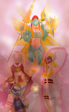 My favorite digimon of my childhood always will Salamon, It is a alternative evolution line, and really I love these holy angels. ≧◡≦ ♥♥ Salamon ( plotmon) → D'arcmon → Angewomon → Ophanimon