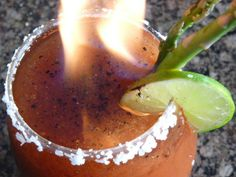 The Goblet of Fire - Halloween - asparagus  lime juice  Bloody Mary mix  hot pepper sauce  black pepper  vodka  Everclear..