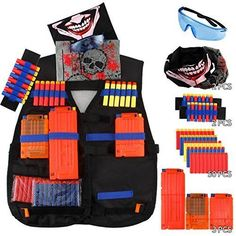 ELONGDI Kids Tactical Vest Kit for Nerf Guns N-Strike Elite Series, 50 Refill Darts + 3 Reload Clips + 2 Hand Wrist Band + Protective Glasses + 2 Tactical Mask Tactical Vest for N-Strike Elite Series Nerf Gun, Gifts For Boys, Toys For Boys, Nerf Darts, Hand Wrist, Tactical Vest, Oxford Fabric, String Bag, Toy Sale