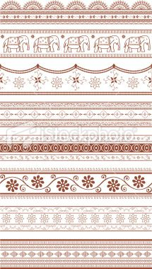 Mehndi Sari Borders (Vector) Royalty Free Stock Vector Art Illustration