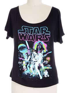 Neon New Hope Star Wars Tee by Fifth Sun, BLACK, clothing,tops & tees,star wars tee,womens star wars clothing