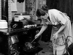 1950S Oven | Stock Photo #4186-3143, 1950S Housewife Testing Roast Beef In Oven To ...