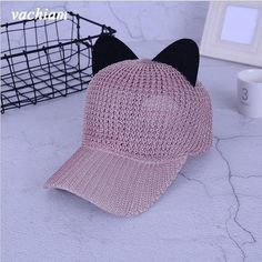959ee7af Vachiam Summer Hats With Cat Ears Baseball Cap - Sports Equestrian Hat