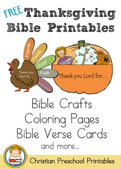 Thanksgiving activities: FREE Thanksgiving Bible Printables, Crafts, Coloring Pages, Bible Verse Cards. Preschool Bible, Bible Activities, Preschool Printables, Church Activities, Preschool Crafts, Thanksgiving Preschool, Thanksgiving Religious Crafts, Thanksgiving Ideas, Thanksgiving Sunday School Lessons