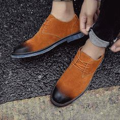 Men's #brown suede leather derby #DressShoes retro style design, work, office, business occasions.