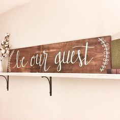 Be Our Guest Wooden Sign by RidgewoodShopLLC on Etsy Spare room Wooden Door Signs, Painted Wooden Signs, Wooden Doors, Hand Painted, Wood Signs, Craft Font, Guest Room Office, Bedroom Office, Guest Bedrooms