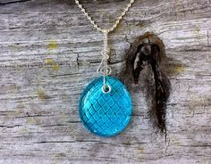 Blue dragon egg engraved in glass necklace - Game of Thrones design fit for the mother of dragons! All sterling silver hanger and chain.