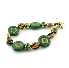 Green Gold Bracelet Czech Glass Beaded Strung by CinLynnBoutique, $25.00