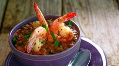 Spicy Black Bean Soup and Limed Up Shrimp - I just saw this on Rachel Ray and am pinning it so I don't forget to try it.