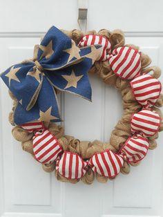 Americana burlap wreath Patriotic burlap Wreath American flag