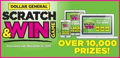 Dollar General Scratch & Win Instant WIN Game WIN Redbox DVD Rentals,ITunes,Gas & Dollar General Gift Cards Enter DAILY-Ends 11/16