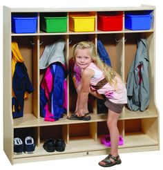 Five Section Locker. GreenGuard Children & Schools Indoor Air Quality Certified from Honor Roll Childcare Supply. Daycare Cubbies, Preschool Cubbies, Preschool Classroom, Classroom Carpets, Classroom Furniture, Kids Furniture, School Furniture, Classroom Decor, Kitchen Bookcase