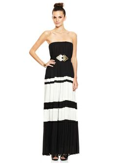 GRACIA Strapless Maxi Dress with Wide Stripe Bottom
