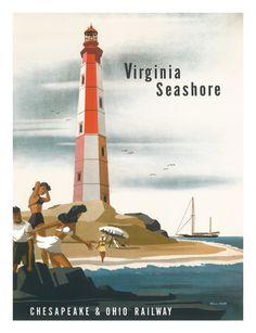 Vintage Travel Poster - USA - Virginia Lighthouse - Railway