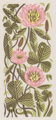 Angie Lewin's 'Clover' wood engraving - one of the limited edition prints Angie will be exhibiting at The Sarah Wiseman Gallery in Oxford until 26th September 2015