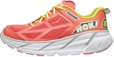 Sky-high cushioning, extremely low weight so the miles fly by. And great colors from Hoka One One road running shoe.