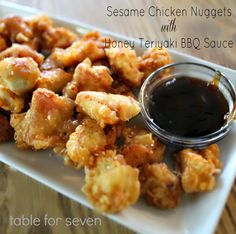 Sesame Chicken Nuggets with Honey Teriyaki BBQ Sauce