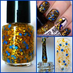 Clear polish base with golden matte yellow and blue hexes. Choose bottle size from drop down menu. Bottles come labeled with the name of the polish