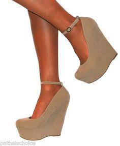 Nude wedge heel shoes