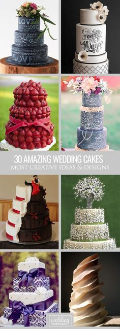 30 Most Amazing Wedding Cakes Pictures & Designs ❤ If you want guest to talk about the cake long after the wedding, take a look of gallery amazing wedding cakes pictures & designs. See more: http://www.weddingforward.com/wedding-cakes-pictures/ #weddings #cakes