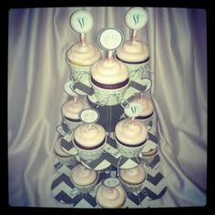 Custom Monogrammed CupCake Toppers and CupCakes for a Baby Shower.  www.CupCakeFabuLous.com