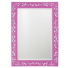 "Howard Elliott 6041HP Bristol 36"" x 26"" Rectangle Glossy Hot Pink Mirror Pink Home Decor Mirrors Lighting"