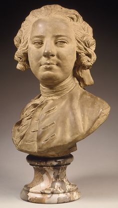 LEMOYNE the Younger Jean-Baptiste - French (Paris 1704 - 1778 Paris) ~ Bust of a man, ca. 1745– 50, Pale gray terracotta, covered with a buff colored wash Pedestal, breccia violetta marble, H. 14-1/2 in. (36.8 cm) H. (pedestal) 4 in. (10.2 cm). , Met Museum.