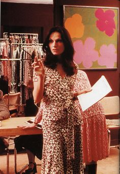 From the archives: Diane von Furstenberg in her showroom in the 70s.