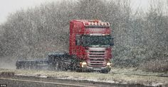 Motoring on: Snow on the A1 dual carriageway near Newry today, as an amber weather alert i...