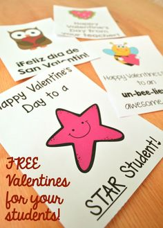 Download FREE Valentines Designed For Teachers To Give To Their Students!  {Color And Bu0026W