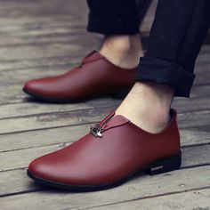 Red metal design slip on leather dress shoe Mens shoes online Mens Boots Fashion, Leather Fashion, Fashion Shoes, Fashion Goth, Mens Shoes Online, Custom Design Shoes, Leather Dress Shoes, Leather Dresses, Luxury Shoes