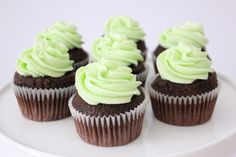 Chocolate Cupcakes with Mint Buttercream Frosting | Amy's Food Adventures