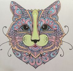 Coloured By April Waggoner. Wild about Cats done with pastel pencils
